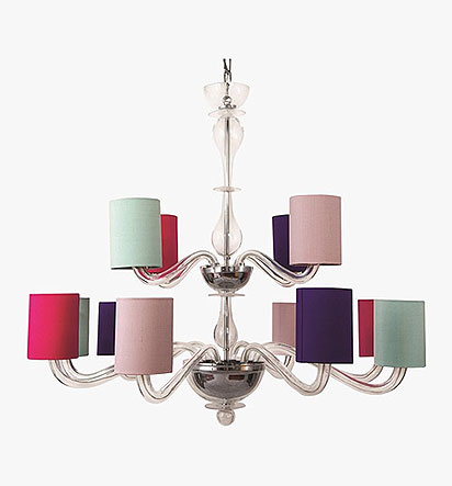 Romanelli Chandelier with tall drum shades